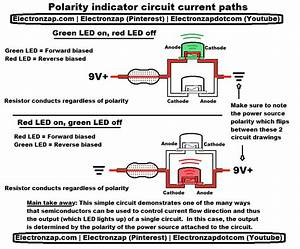 Illustrative Diagram Of Current Path Through An Indicator Led Circuit Power Source Polarity