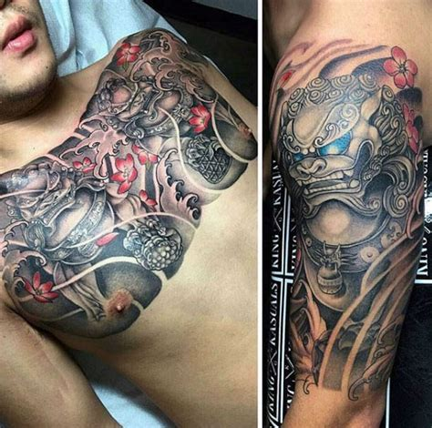 foo dog tattoo designs  men chinese gaurdian lions