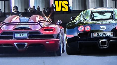 How does the bugatti veyron 16.4 compare to the koenigsegg agera? Koenigsegg Agera R vs Bugatti Veyron - Sound Battle! - YouTube