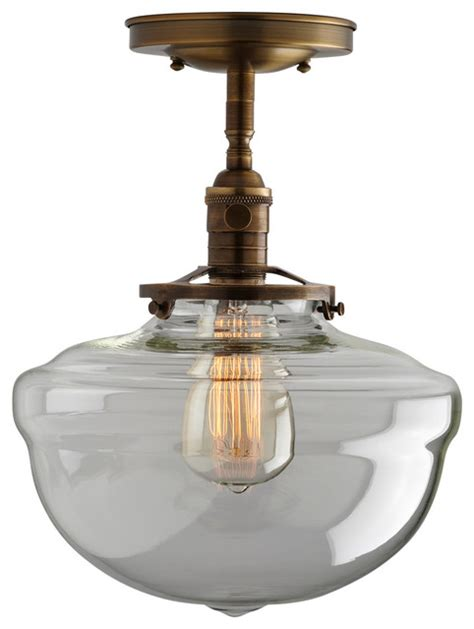 Schoolhouse Flush Mount Lighting by 10 Quot Clear Acorn Schoolhouse Light Fixture Semi Flush Mount