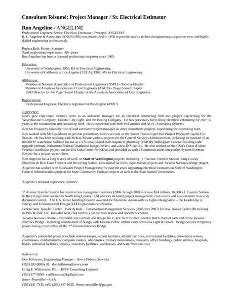 executive estimator resume template