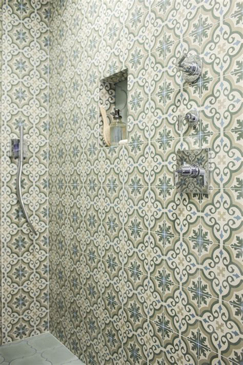 moroccan shower tiles mediterranean bathroom oxa