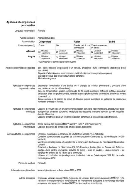 Ecrire Resume En Francais by Eu Cv Dominique Lorrette 2014