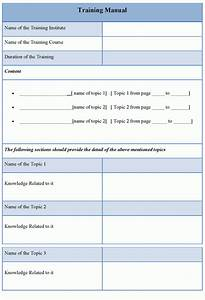 Manual Template For Training  Example Of Training Manual