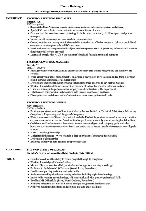 Technical Resume by Technical Writing Resume Exles Photos Sle