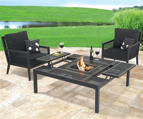 Place a patio coffee table at the bend of your outdoor sectional couch and scatter a few coordinating patio end tables near the other seats. Convertible outdoor coffee/dining table