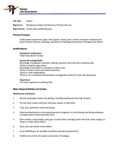 painter description resume resumes design