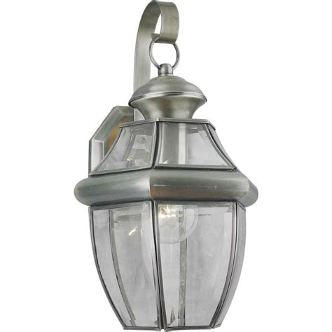 pewter wall sconces lighting forte lighting 1 light outdoor pewter wall lantern sconce with clear beveled glass 1201