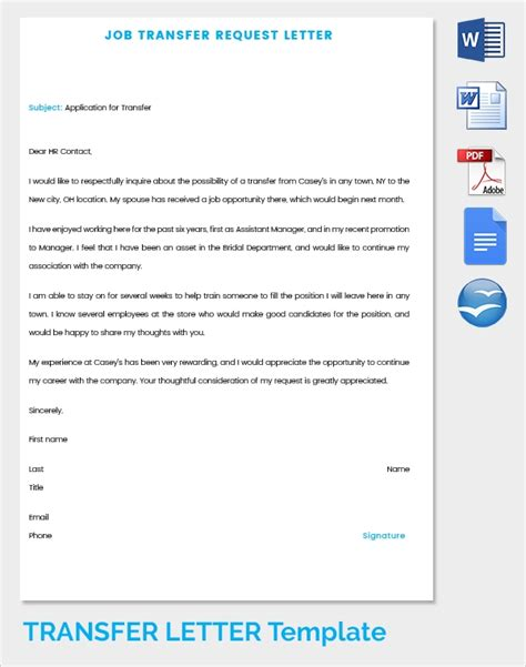 sample transfer letter  documents   word apple