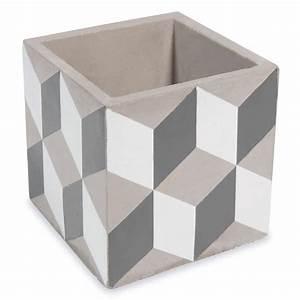 cache pot en ciment h 11 cm cubik maisons du monde With cache pot maison du monde