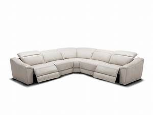 Silver grey recliner leather sectional sofa nj 775 for Ditto grey sectional sofa