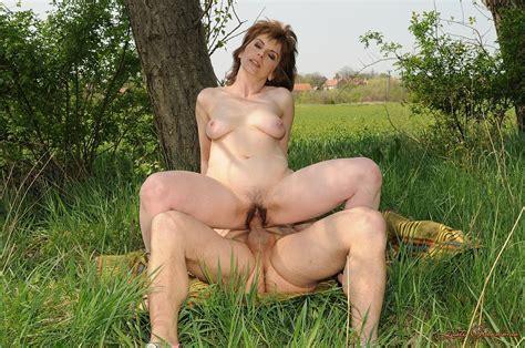 Aged Man Fucks Mature Slut Bessie In Nature Then She Licks Cum Off His Dick