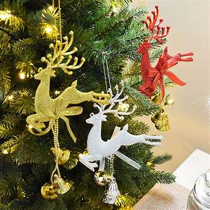 Gold, Sliver, Red, Reindeer, Christmas, Tree, Hanging, Bauble, Ornament, Party, Xmas, Decor, Deer, With, Bells
