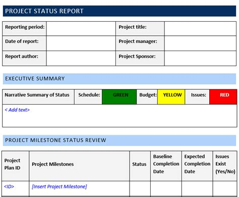 project status report template word template