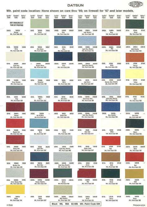 car paint color chart images