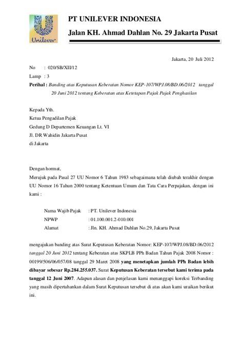 Contoh Surat Lamaran Ke Kemendikbud by Contoh Surat Banding Pajak Zaka Firma Aditya 8111410061