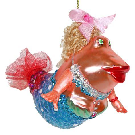 funny big fish blonde maiden mermaid glass christmas