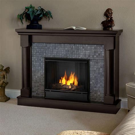 Real Flame Bennett Dark Walnut Gel Fuel Fireplace Free