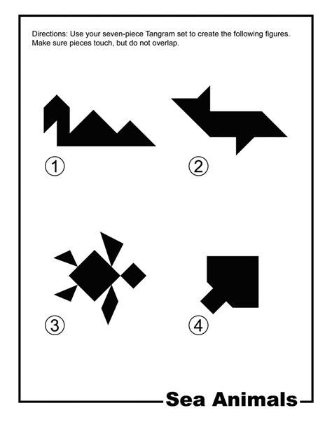 sea animals silhouette tangram card clipart