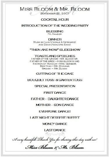 wedding reception program template sle wedding reception program ceremony in 2018 wedding reception program