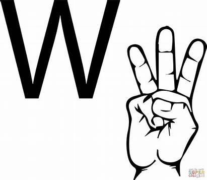 Asl Language Letter Sign Coloring Alphabet American