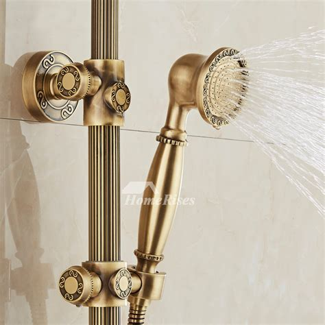 Exposed Shower Faucet Wall Mount Antique Brass Gold Single