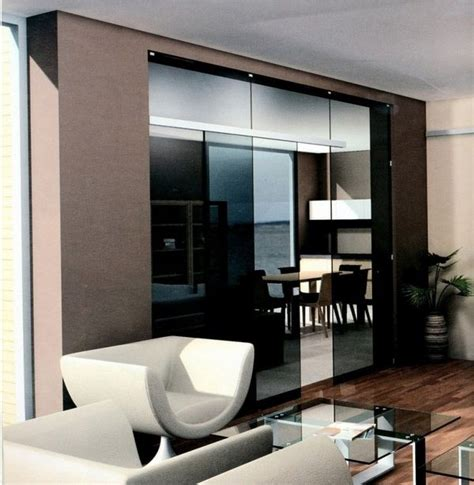 and brown kitchen cabinets sliding door kitchen living room glass mirror modern 8489