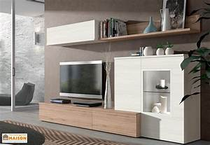 Meuble Tv Mural : ensemble meuble tv bois meuble tv grande hauteur maisonjoffrois ~ Teatrodelosmanantiales.com Idées de Décoration