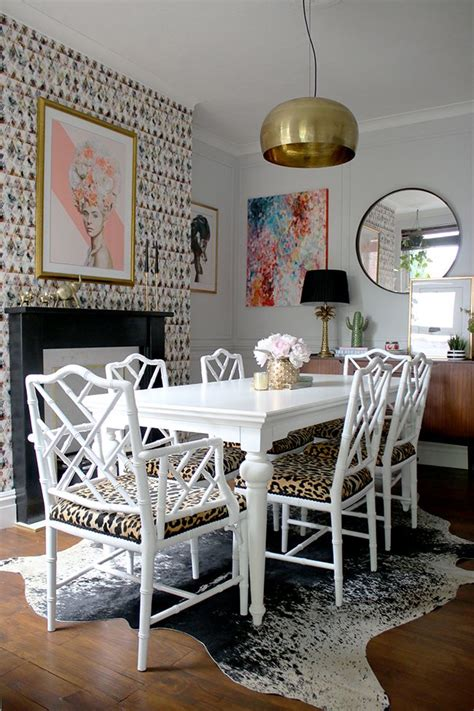 eclectic glam living room  graphic feature wallpaper