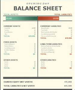 Day Sheet Template Opening Day Balance Sheet Template Formal Word Templates