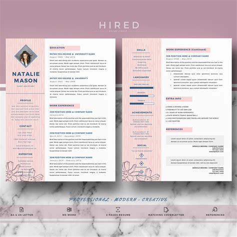 creative resume template  ms word natalie hired