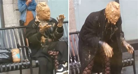 lady covers   face  peanut butter   bus stop