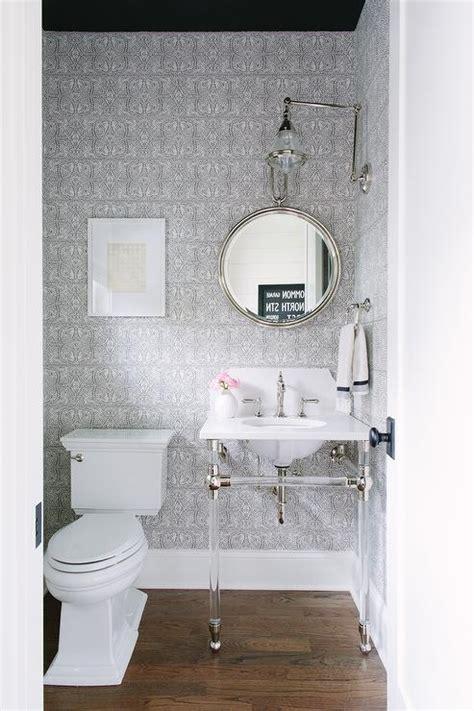 gray powder room  black ceiling transitional bathroom