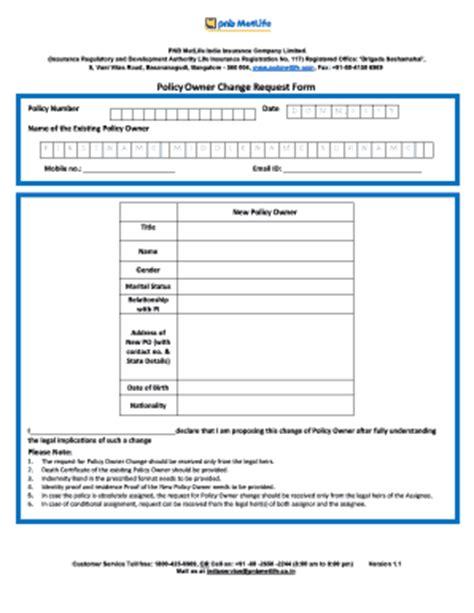 metlife change of ownership form fill printable