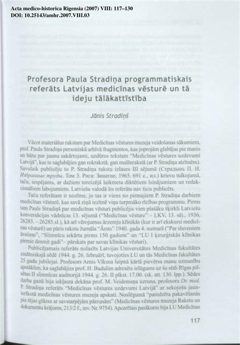 (PDF) Profesora Paula Stradiņa programmatiskais referāts ...