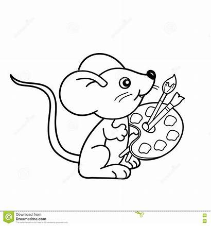 Paint Coloring Brush Pages Outline Cartoon Mouse