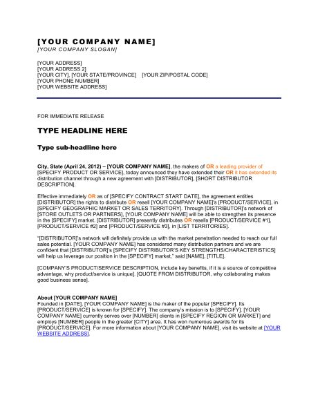 Press Release New Distribution Channel Template – Word