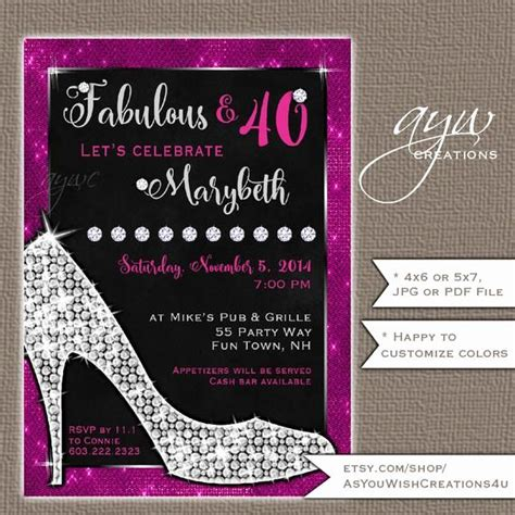 Glamorous Party Invitation Wow Beautiful 40th Birthday
