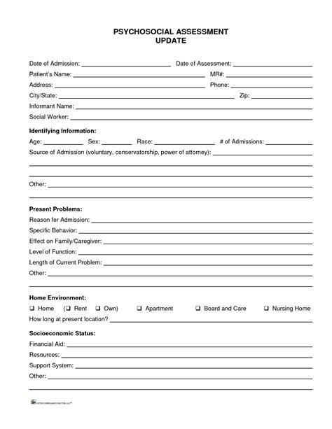 psychosocial assessment template 11 best photos of social work biopsychosocial assessment form social work biopsychosocial
