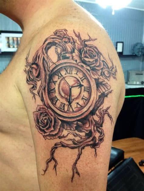 grey ink clock  rose tattoos  shoulder ink tattoos clock rose tattoo shoulder tattoo