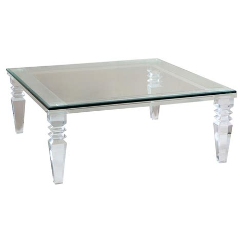 Luxor Modern Classic Square Crystal Cut Acrylic Coffee Table