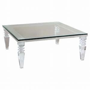 Luxor modern classic square crystal cut acrylic coffee table for Used acrylic coffee table