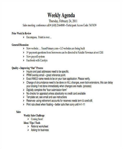 sales agenda templates   ms word