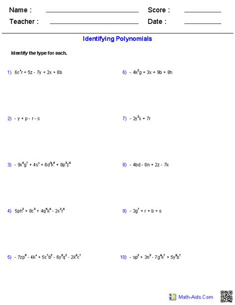 algebra 1 worksheets monomials and polynomials worksheets