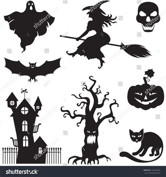 set silhouette horror images halloween stock vector