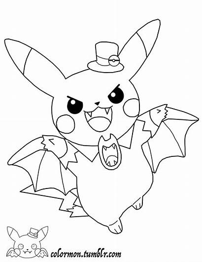 Pikachu Coloring Pages Pokemon Halloween Dressed Anime