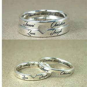 Personalized Stackable Engagement Rings Customized Names ...