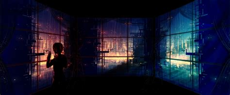 City Anime Wallpaper - artwork anime futuristic city window
