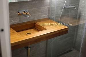 Console Murale Suspendue : plan vasque en teck sur mesure plan vasque en bois ~ Teatrodelosmanantiales.com Idées de Décoration
