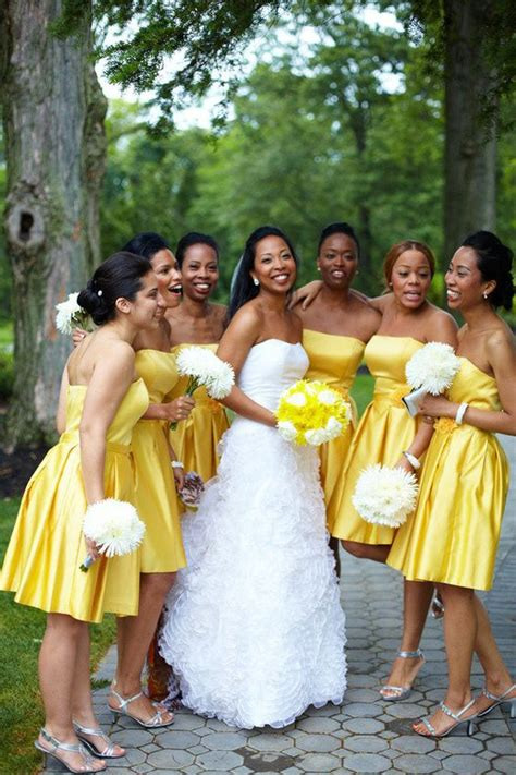 Black Girl Wedding Dress Meme - 2017 elegant bridesmaid dress for black girl a line strapless yellow satin mini short new